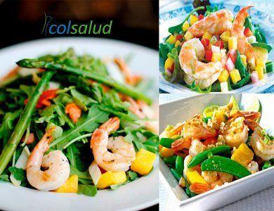 Ensalada de camarones y piña y variaciones con rucula, espinaca, berros, porotos verdes y esparragos