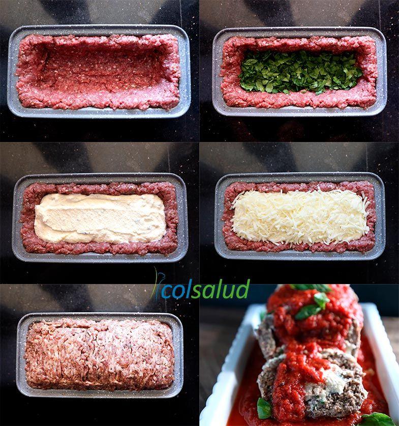 Rollo de carne tipo lasaña bajo en carbohidratos
